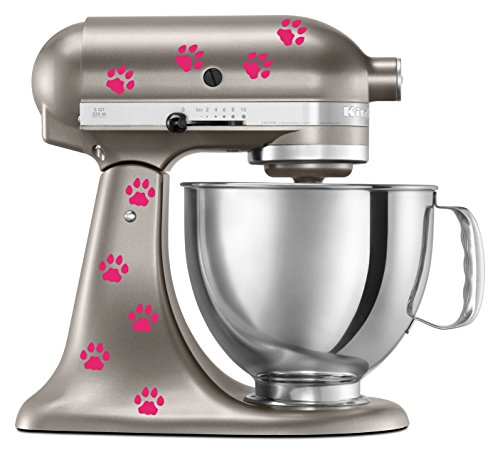 Cat Paw Prints Decal In Hot Pink for KitchenAid Mixer - Classic Cool Artistic - also for MacBook, Laptop, Car, or Anything