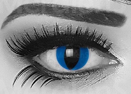 Mystic Cat Farbige Funnylens Crazy Fun Blau mit Katzenpupille Kontaktlinsen perfekt zu Fasching, Karneval Halloween Anime Manga oder zum Alltag mit gratis Behälter und 60ml Pflegemittel Topqualität zu jedem Event geeignet.