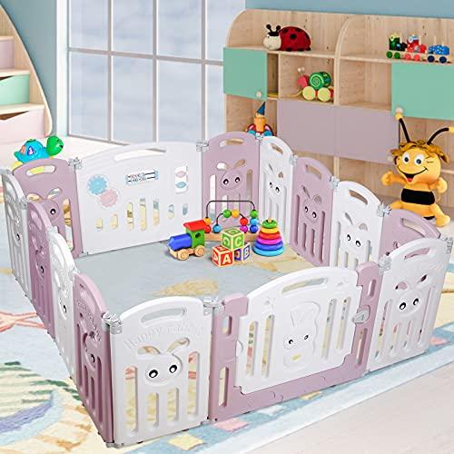 Parque Infantil Bebé Plegable, Corralito Bebé con 14 Paneles Plegable, Valla de Seguridad Plegable / Puerta de Plástico Expandible / Base Antideslizante, Centro de Actividades para Niños de 0 a 6 Años