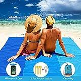 Cool Design Manta de playa impermeable, manta de pícnic ligera, esterilla de playa sin arena para la playa, camping, senderismo y excursiones, con funda impermeable móvil (200 cm x 210 cm, azul 3)