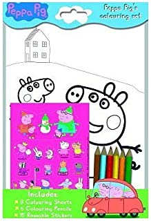 Peppa Pig Coloring Set- Pencils, Stickers, Coloring in Paper