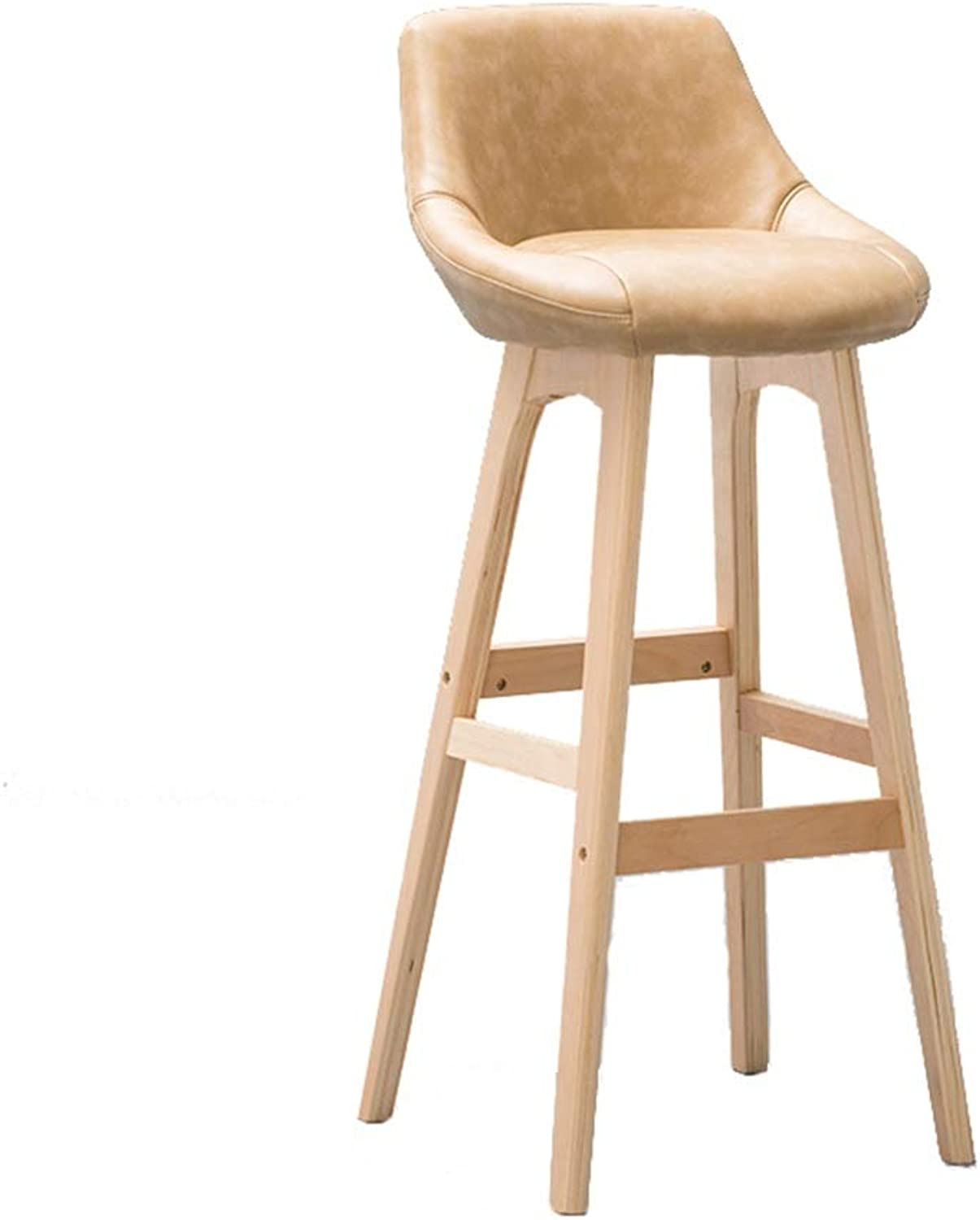 Wooden Barstool High Stool Breakfast Dining Stool for Kitchen Home Bar Counter Commercial Chair with Backrest and Beige PU Cushion Concise Style - Height 79.5cm