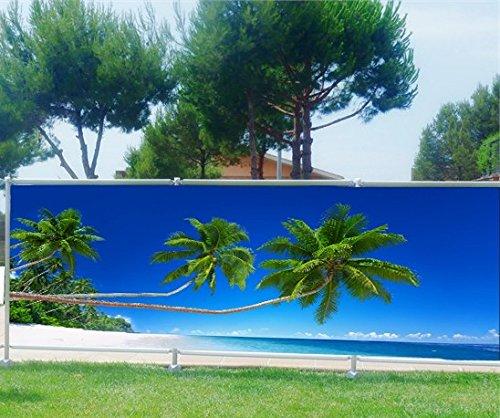Brise Vue bedruckt, Garten, Terrasse, Balkon Deko Palmen Strand, Kunststoff Stoff, 100{0b44c8498c180ce458f56766e3e812b5b8e8eecb34001b9f4e72235e0cfcea47}, 340x132cm