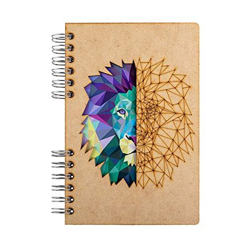 KOMONI - Quaderno in legno rilegato a spirale multiuso - carta riciclata - Bullet Journal - diario di viaggio - ricettario - Sketchbook - disegno e arte - Leeuw (A4, Righe di Carta)