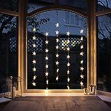 Lights4fun 40er LED Sternen Lichtervorhang perlweiß transparentes Kabel