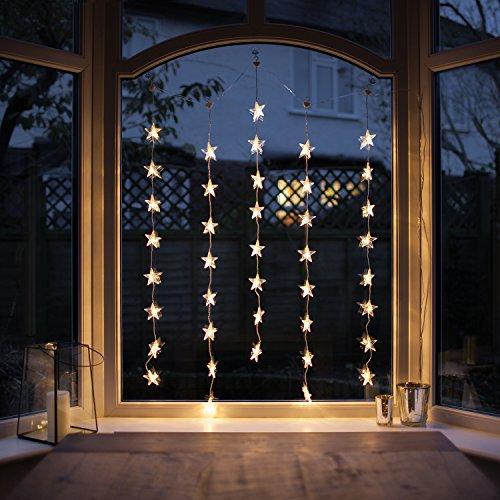 Lights4fun Rideau Lumineux Intérieur de 40 Etoiles LED Blanc Chaud pour Fenêtre