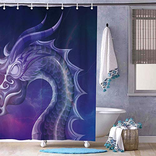 Cortina de ducha Unknow, rústica, rústico, rústico, granero, puerta de granero, para baño, constelación de dragón eléctrico, antimoho, resistente al agua, tela saludable, 72 x 72 cm