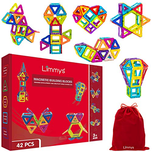 Limmys Magnetic Building Blocks – Unique Construction Toys for Boys and Girls – STEM Educational Toy – Includes 42 Pieces, Idea Book & a Bonus Velvet Drawstring Bag