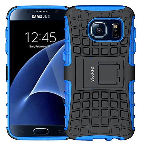 ykooe Galaxy S7 Hülle, Silikon Handyhülle Samsung Galaxy S7 Dual Layer Hybrid Schutzhülle TPU Case für Samsung Galaxy S7 (Blau Ständer)