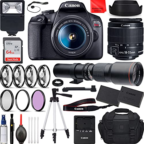Canon EOS Rebel T7 DSLR Camera with EF-S 18-55mm f/3.5-5.6 is II, 500mm f/8.0 Preset Manual Focus Lens Travel Bundle...