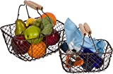 """Vintage Design with Wooden Handle. Comes as a set of 2 The larger basket measures 10""""L x 7""""W x 5""""H and the smaller measures 8""""L x 5""""W x 4.5""""H Durable and made to keep its shape Wipe with damp cloth By Trademark Innovations"""