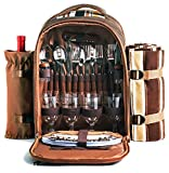 HapTim Strong Picnic Backpack for 4 Person with Cutlery Set - Cooler Compartment