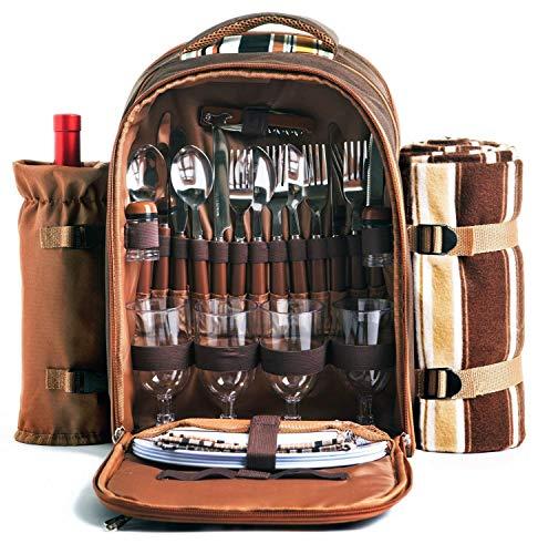 apollo walker Picknick-Rucksack für 4 Personen mit Kühlfach, abnehmbarem Flaschen-/Weinhalter, Fleece-Decke, Teller und Besteck-Set, perfekt für Outdoor, Sport, Wandern, Camping, Grillen (Kaffee)