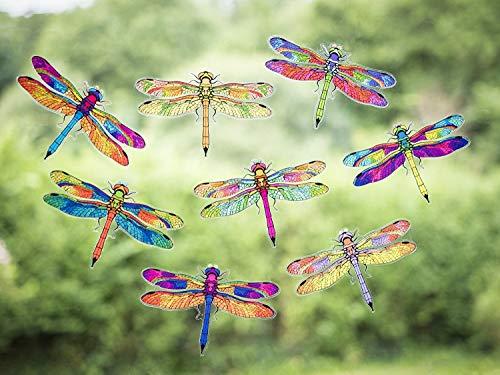 8 Prachtige Dragonfly dubbelzijdige statische zelfklevende raamstickers - Dragonfly Anti Collision Bird Strike raamstickers