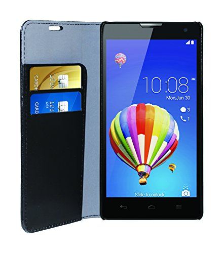 Phonix Öko-Lede Buch-Hülle für Huawei Honor 3C schwarz - 2