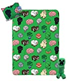 Jay Franco Minecraft Travel Set - 3 Piece Kids Travel Set Includes Blanket, Pillow, Plush - Featuring Creeper (Offical Minecraft Product)