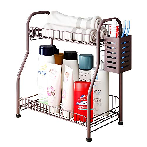 Bathroom Counter Organizer Shelf With Toiletries Basket, 2-Tier Standing Kitchen Spice Rack for Spice Can Jars Bottle with 3 Hooks (bronze, Steel)