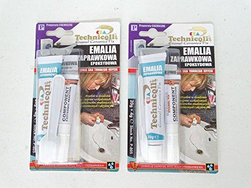 2 x Emaille-Reparaturmasse für Keramik Badewannen, Waschbecken, Duschwannen, Urinale, Gasherde, Waschmaschinen.