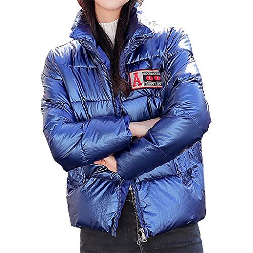 KPPONG Winterjacke Damen Hipsters Glänzende Kurzmäntel Stehkragen Steppjacke Fellkapuze Puffermantel Wattierte Jacke