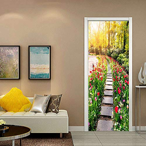 Door stickers and wall stickers, self-adhesive, waterproof and removable, home decoration wallpaper mural, Flowers and trees