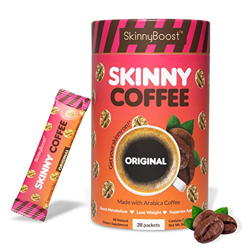 Skinny Boost Skinny Coffee- (Unflavored) Instant Slimming Coffee Blend Made with premium Arabica Coffee, Garcinia Cambogia, Green Tea Extract, Green Coffee Bean Extract, and Prebiotics- Supports Weight Loss and Detox-Gluten Free/Keto Friendly, Non GMO. (28 Packets)