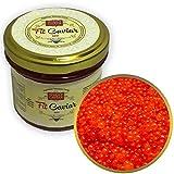 Red Caviar - Caviar vegetariano de algas de salmón Roe - Mejor Caviar para sushi - Estilo ruso - Fit Caviar, 3.88 oz - 110 gr - Tarro de vidrio