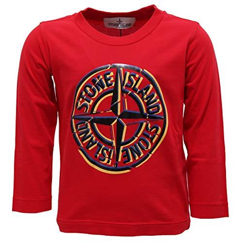 Stone Island 7255Y Maglia Bimbo Boy Red Cotton Printed t-Shirt Long Sleeve [2 Years]