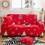 CHQY Funda de sofá de Estiramiento -Non Slight sofá sofá Cubierta de sofá, Protector de Muebles Lavables con Palo de Espuma y Fondo elástico para niños de Navidad Rojo 140-1 80cm