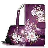Galaxy S8 SM-G950 Case, Hocase PU Leather Full Body Protective Wallet Case Cover with Credit Card Holders, Wrist Strap, Magnetic Closure for Samsung Galaxy S8 2017 - Burgundy Flowers