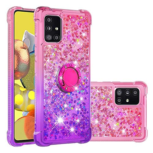 WJMWF Compatible con Funda Samsung Galaxy A51 5G con Anillo Quicksand Glitter Serie de Degradado de Color Suave TPU Silicona Bumper Antigolpes Caso Rosa Arriba y Púrpura Abajo