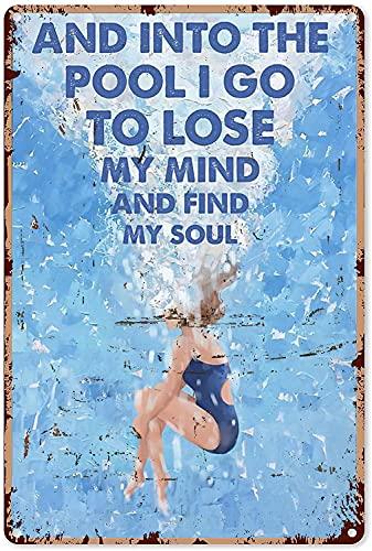 Zwemmen Decoraties voor Slaapkamer Meisje Zwemmen en in het zwembad Ik ga om mijn geest metalen teken 8×12 inch te…