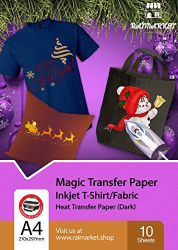 Hierro sobre papel de transferencia para tela oscura (Magic Paper) de Raimarket | 10 hojas | A4 Transferencia de hierro para inyección de tinta en papel/camiseta