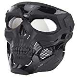 Senmortar Airsoft Mask Paintball Masks with Clear PC Lens Full Face Skull Black Masks Tactical Protective Gear for Halloween Paintball Cosplay Party BBS Gun Shooting Game
