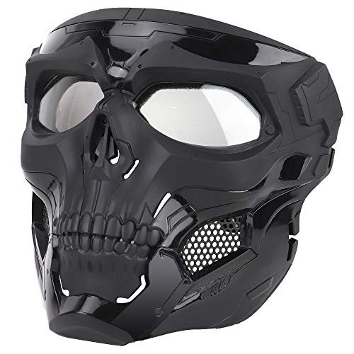 WoSporT Skull Airsoft Paintball Mask Full Face Tactical Mask with Eye Protection for Tactical Outdoor,CS Game,War Game,Ideal Mask for Halloween, Cosplay, Costume Party and Movie Prop (Black)