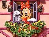 GUANGMANG Jigsaw Puzzle 1000 Pieces Carteles De Películas Póster Minnie Regando Las Flores Rompecabezas,Rompecabezas para Suelo, Niños Y Adultos,75X50Cm