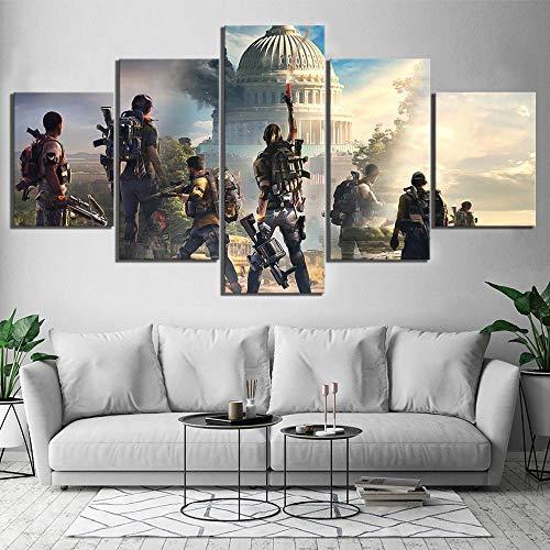 Leinwand Wandkunst Dekoration Bilder 5 Stücke Tom Clancy'S Die Division 2 Spiele Gemälde HD-Drucke Poster Modulare Rahmen(size 1)