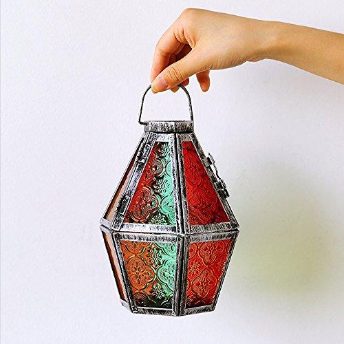 KMYX Romantique Fer Style Marocain Petite Bougie Lanterne Rétro Arts Bougeoir De Noël Bougeoir Lampe Bougeoir Lumière pour la Fête De Mariage ou Festival Décoration (Color : Style K)