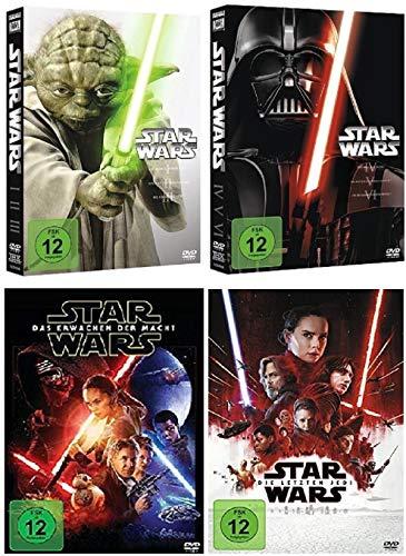 Star Wars Teil 1-8 (Teil 1+2+3+4+5+6+7+8) 1 bis 6 + Das Erwachen der Macht + Die letzten Jedi [DVD Set]