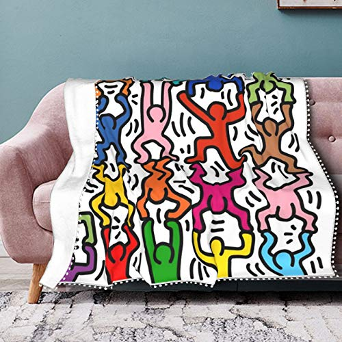 Homage To Keith Haring Akrobats Überwurfdecke Weiche Flanell-Fleecedecke für Couch, Bett, Sofa, Stuhl, Büro, Reisen, Camping, moderne dekorative warme Decke, 127 x 152,4 cm