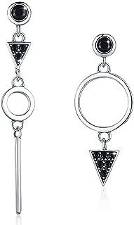 SIMPLGIRL Boucles d'oreilles pendantes géométriques Halo - Argent sterling 925 - Boucles d'oreilles pendantes en forme de ...