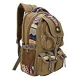 Vanya Handicraft Collection Men's and Women's Canvas Multi-Pockets Backpack (Brown)