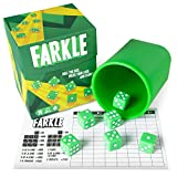 Brybelly Farkle: The Classic Family Dice Game | Set Includes Dice Cup, Set of 6 Green Dice, 25 Scorecards, and Storage Box