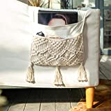 Mkono Macrame Sofa Armrest Organizer Remote Control Holder Magazine Storage Basket Couch Chair Arm Caddy for TV Remote Control, Magazine, Books, Cell Phone, iPad, Boho Home Decor, Ivory