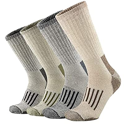 ONKE Men's Merino Wool Moisture Wicking Thermal Outdoor Hiking Heavy Cushion Crew Socks 4 Pack(MixColor L)