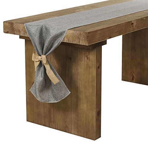 Ling's moment Gray Burlap Table Runner 14 x 84 Inch with Bow Ties for Farmhouse Table Runner Dresser Cover Runner Wedding Party Fall Decorations