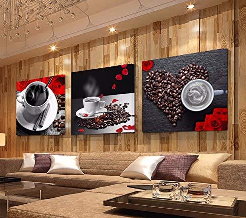 liwendi Mural de Lienzo Vintage de Taza de café con Estampado, Utilizado para la decoración de la Pared en el Comedor de la Cocina 30 * 30 cm * 3