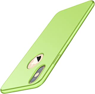 Design of Logo Cutout Hard Shell Thinest for iPhone X/XS,Stylish Comfort Phone case Full Protection for iPhone Xs MAX/XR. (Fluorescent Green, iPhone XR)