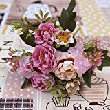 Che DIY Decoración de Fiesta Flores Artificiales de Seda Vintage Rosa pequeña Boda Flores FalsasDecoración para el hogar Ramo, Púrpura
