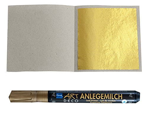 50 Blatt Blattgold (Imit.) Blattmetall Schlagmetall 4,8 cm x 4,8 cm + 1 x Anlegemilch im Stift
