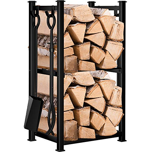 Amagabeli 28.3in Large Firewood Rack Indoor Fireplace Tool...